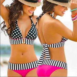 Black and Hot Pink Bikini